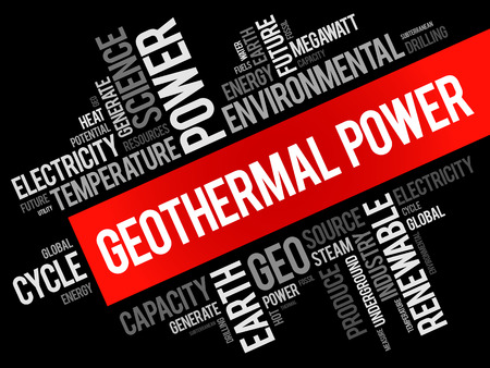 Collage de nuage de mots d'énergie géothermique, fond de concept d'industrie