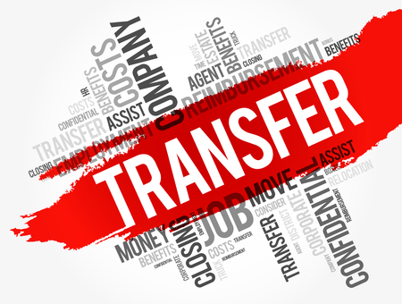 Transfer word cloud collage, business concept background Çizim