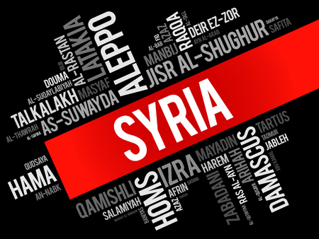List of cities and towns in Syria, word cloud collage, business and travel concept background 일러스트