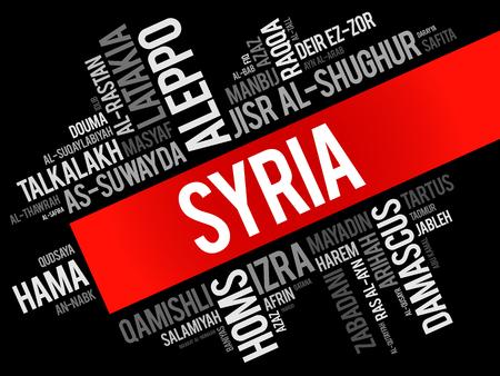 Lista de ciudades y pueblos de Siria, collage de nube de word, antecedentes de concepto de viajes y negocios