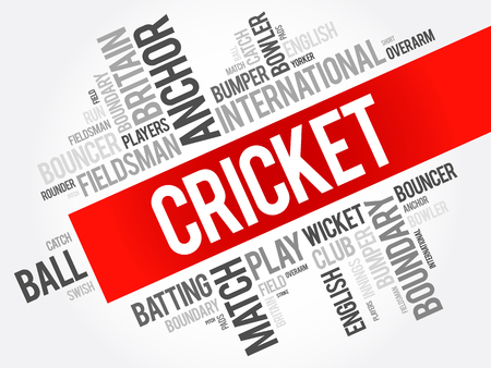 Cricket word cloud collage, sport concept background Stock Illustratie