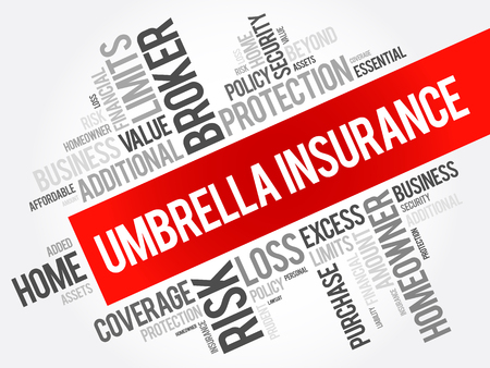 Umbrella Insurance word cloud collage, business concept background 向量圖像
