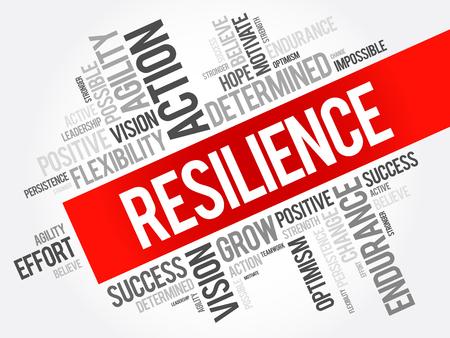 Resilienz-Wortwolkencollage, Geschäftskonzepthintergrund Vektorgrafik