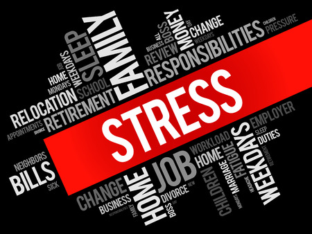 Stress word cloud collage, health concept background