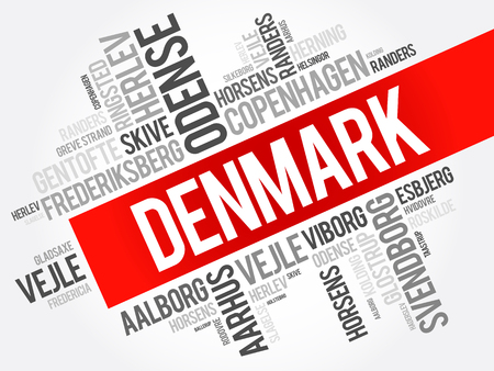 List of cities and towns in Denmark, word cloud collage, business and travel concept background