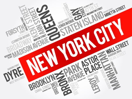 List of streets in New York City, word cloud collage, business and travel concept background Ilustração