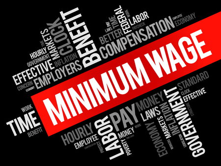 Minimum Wage word cloud collage, business concept background
