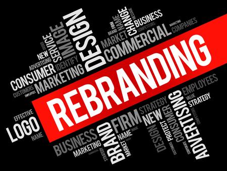 Rebranding word cloud collage, business concept background Illustration