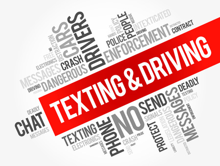Texting and Driving word cloud collage, social concept background Vectores