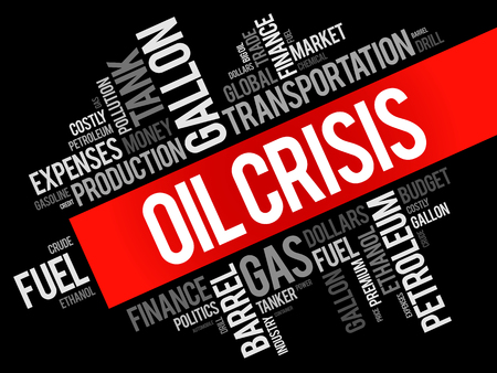 Oil crisis word cloud collage, business concept background Illustration