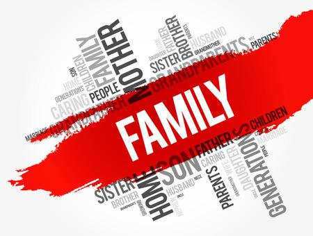 Collage della nuvola di parola della famiglia, fondo di concetto sociale