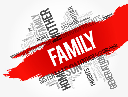 Family word cloud collage , social concept background Illustration
