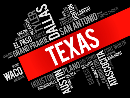 List of cities in Texas USA state word cloud, concept background Foto de archivo - 124400733