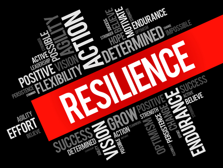 Resilience word cloud collage, business concept background Vetores