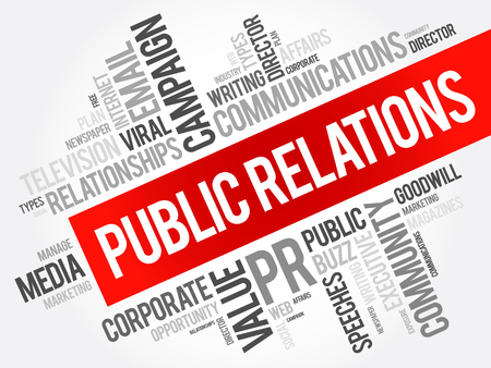 Public Relations word cloud collage, business concept background Vector Illustratie