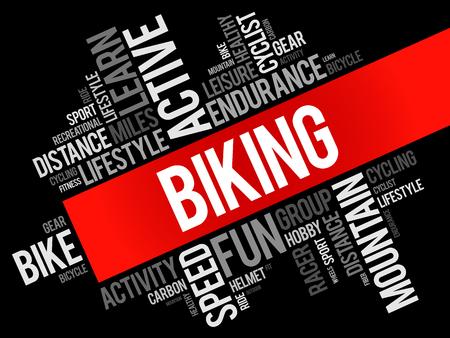 Biking word cloud collage, sport concept background