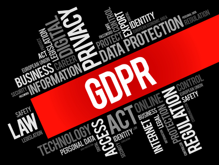 GDPR - General Data Protection Regulation word cloud collage, technology concept background