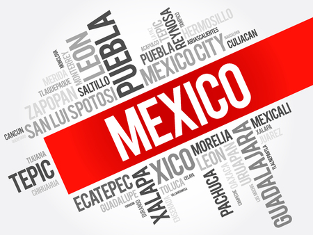 List of cities and towns in Mexico, word cloud collage, business and travel concept background Иллюстрация
