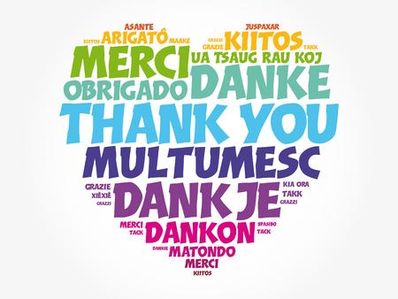 Gracias amor corazón palabra nube en diferentes idiomas, concepto de fondo Ilustración de vector