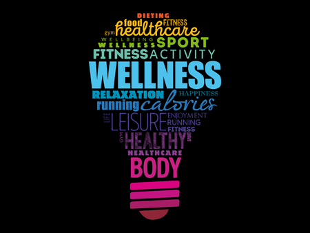 Wellness light bulb word cloud collage, health concept background