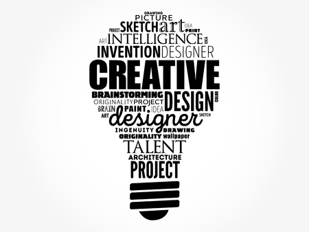 CREATIVE light bulb word cloud, creative business concept background
