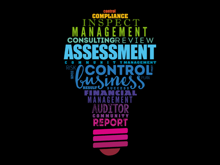 ASSESSMENT light bulb word cloud collage, business concept background Vettoriali