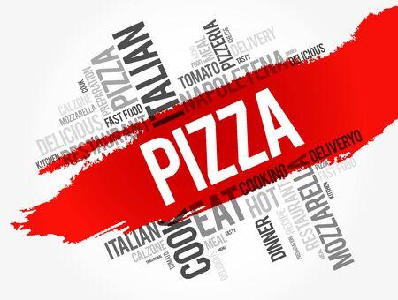 Collage de nuage de mots de pizza, fond de concept de nourriture