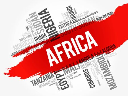 List of Africa countries word cloud collage, africa business and travel concept background Illustration