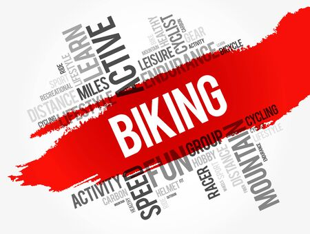 Biking word cloud collage, sport concept background 写真素材 - 125162836