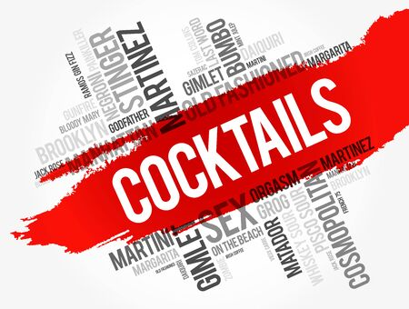 Most popular Cocktails word cloud collage, drinks concept background