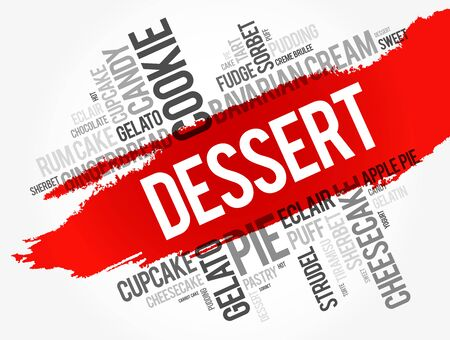 Dessert word cloud collage, food concept background