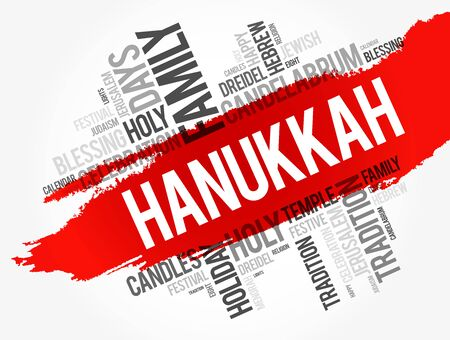 Hanukkah word cloud collage, holiday concept background