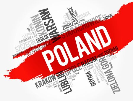 List of cities and towns in Poland, word cloud collage, business and travel concept background