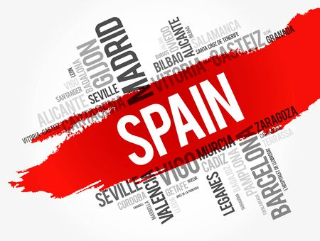 List of cities in Spain word cloud, Spanish municipalities, business and travel concept background