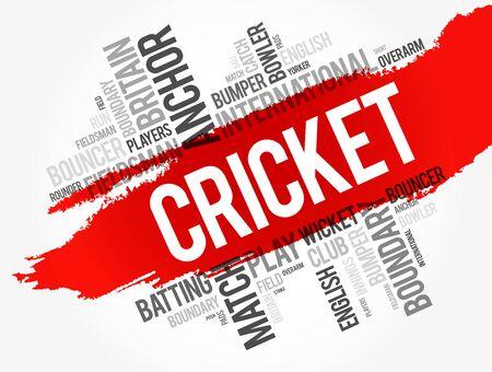 Cricket word cloud collage, sport concept background Stock Illustratie