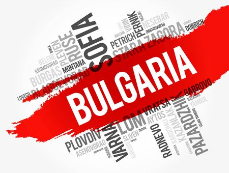 List of cities and towns in Bulgaria, word cloud collage, business and travel concept background