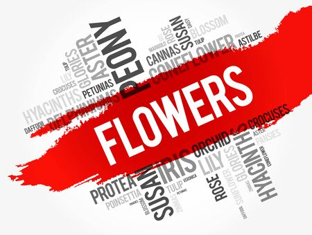 Flowers word cloud collage, concept background Illustration