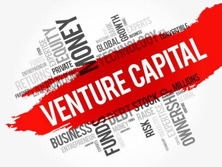 Collage de nuage de mots de capital-risque, fond de concept d'entreprise Vecteurs