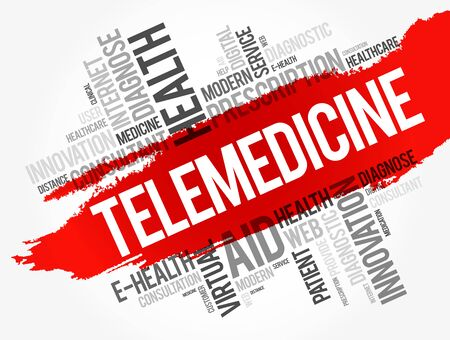 Telemedicine word cloud collage, health concept background