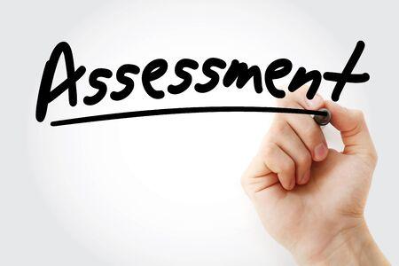 Bewertungstext mit Marker, Geschäftskonzepthintergrund Standard-Bild