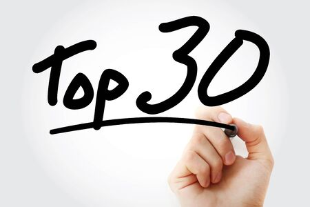Top 30 text with marker, business concept background