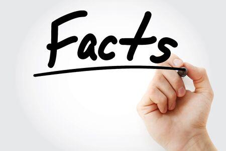 Texte de faits avec marqueur, concept d'entreprise