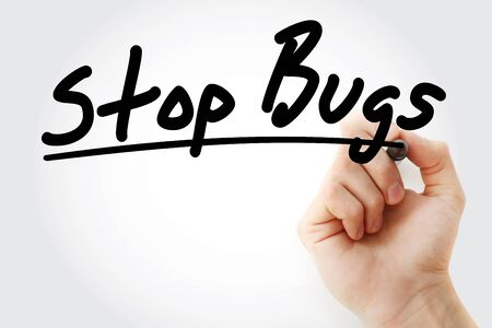 Stop Bugs text with marker, health concept background Stockfoto