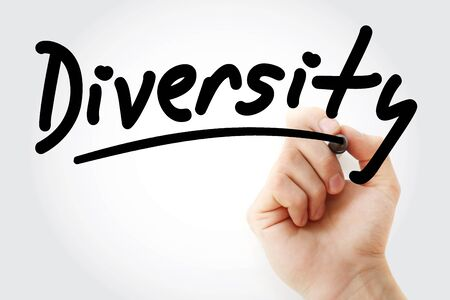 Diversity text with marker, business concept