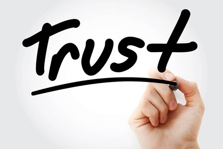 Trust text with marker, business concept background Stock Photo