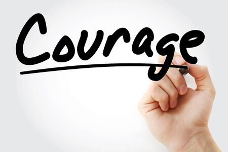 Courage text with marker, concept background
