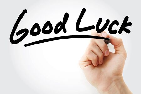 Good Luck text with marker, business concept