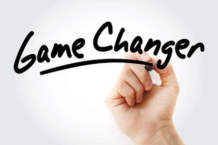 Texto de cambio de juego con marcador, concepto de negocio