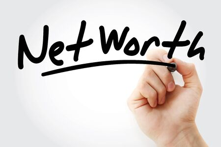 Net Worth text with marker, business concept
