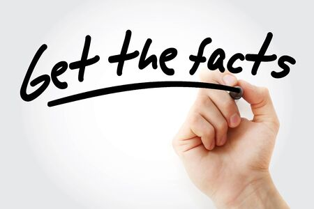 Get the facts text with marker, business concept